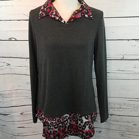 N A Tops New Charcoal Sweater Blouse Combo Top Medium Poshmark